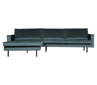 Sofa med venstrevendt chaiselong i velour 300 x 155 cm - Teal