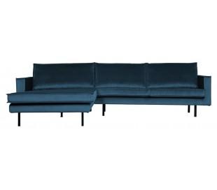 Sofa med venstrevendt chaiselong i velour 300 x 155 cm - Blå