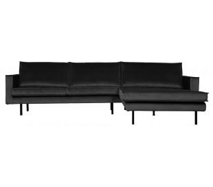 Sofa med højrevendt chaiselong i velour 300 x 155 cm - Antracit