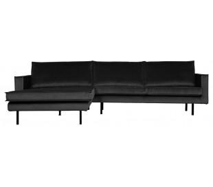 Sofa med venstrevendt chaiselong i velour 300 x 155 cm - Antracit