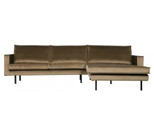 Sofa med højrevendt chaiselong i velour 300 x 155 cm - Taupe