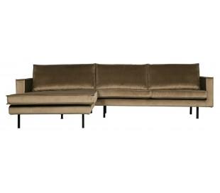 Sofa med venstrevendt chaiselong i velour 300 x 155 cm - Taupe