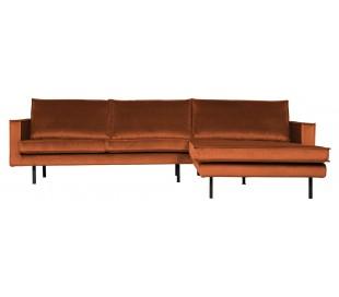 Sofa med højrevendt chaiselong i velour 300 x 155 cm - Rust