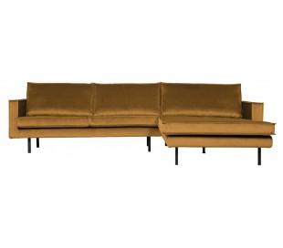 Sofa med højrevendt chaiselong i velour 300 x 155 cm - Okker
