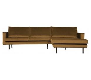 Sofa med højrevendt chaiselong i velour 300 x 155 cm - Honninggul