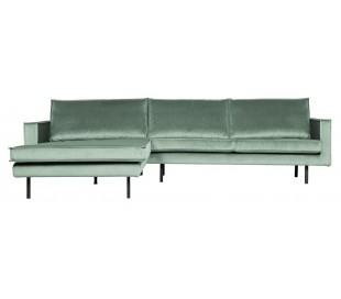 Sofa med venstrevendt chaiselong i velour 300 x 155 cm - Mint