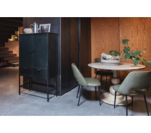 Industrielt vitrineskab i jern H151 x B87 x D36 cm - Antik sort