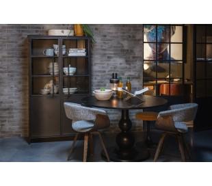 Industrielt vitrineskab i jern og glas H170 x B99 x D44 cm - Antik sort