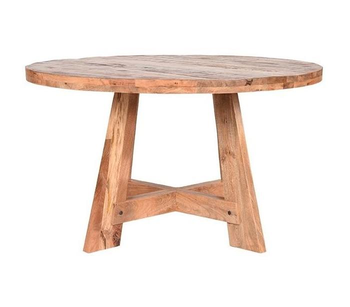 Rundt spisebord i mangotræ Ø130 cm - Rustik natur