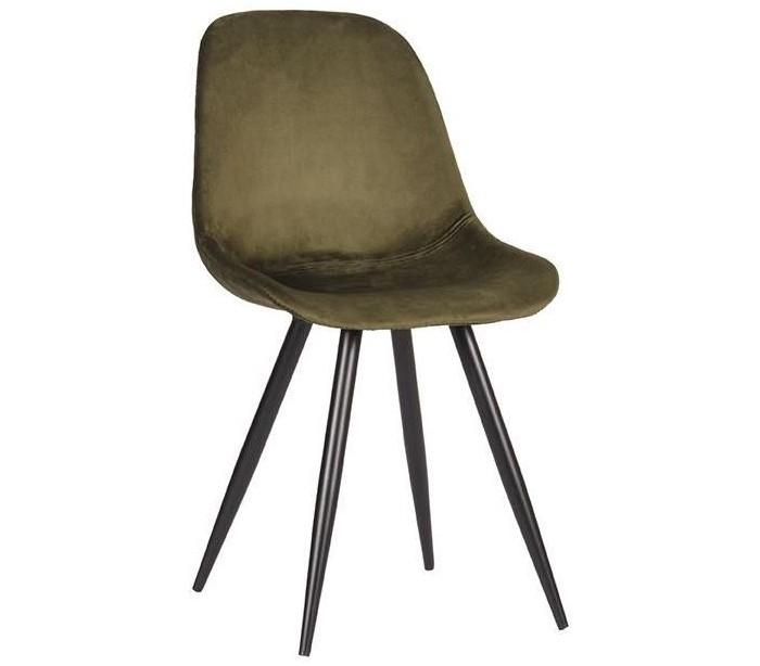 Capri spisebordsstol i velour H88 cm - Armygrøn