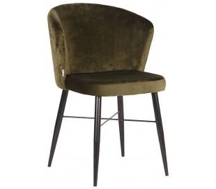 Wave spisebordsstol i velour H85 cm - Armygrøn