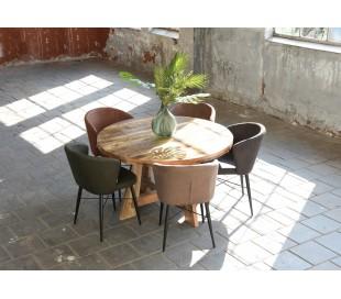 Wave spisebordsstol i microfiber H85 cm - Vintage cognac