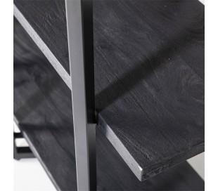 Rustikt reolsystem B160 x H180 cm i mangotræ og jern - Sort/Sort