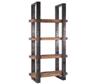 Rustikt reolsystem B94 x H200 cm i mangotræ og jern - Industriel sort/Brun