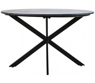 Rundt spisebord i marmor og metal H78 x B130 cm - Sort marmor/Sort