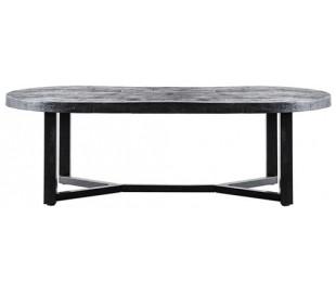 Ovalt sofabord i mangotræ og metal 140 x 70 cm - Sort
