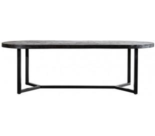 Ovalt spisebord i mangotræ og metal 200 x 100 cm - Sort