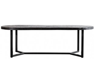 Ovalt spisebord i mangotræ og metal 240 x 100 cm - Sort