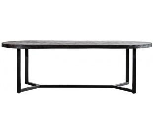 Ovalt spisebord i mangotræ og metal 300 x 100 cm - Sort