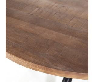 Rundt spisebord i mangotræ og metal H76 x B150 cm - Sort/Brun