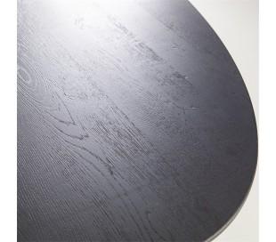 Ovalt spisebord i egetræ og metal 300 x 120 cm - Sort