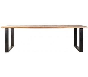 Spisebord i mangotræ og metal 160 x 90 cm - Sort/Brun