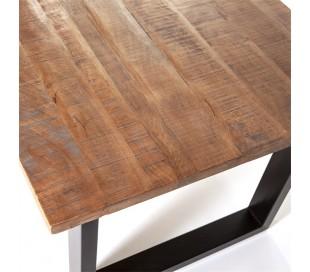Spisebord i mangotræ og metal 200 x 100 cm - Sort/Brun