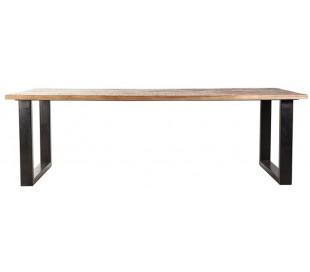 Spisebord i mangotræ og metal 300 x 100 cm - Sort/Brun