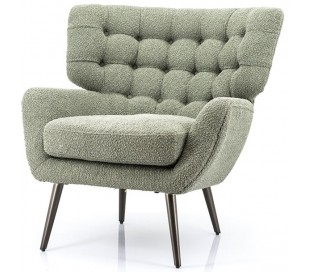 Lænestol i linned og metal H85 x B84 cm - Grøn