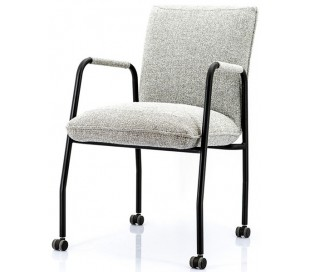 Spisebordsstol i polyester og metal H85 x B68 x D52 cm - Lysegrå
