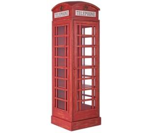 Rustikt skab som telefonboks H180 x B53 x D51,5 cm - Antik rød