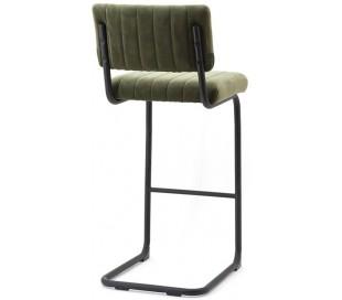 Barstol i velour og metal H104 x B45 cm - Grøn