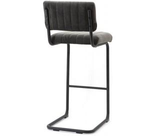 Barstol i velour og metal H104 x B45 cm - Grå