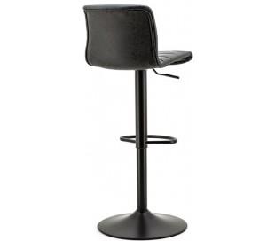 Barstol i kunstlæder og metal H86 - 107 x B43 cm - Vintage sort