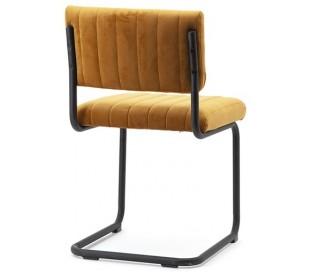Spisebordsstol i velour og metal H83 cm - Okker