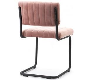 Spisebordsstol i velour og metal H83 cm - Pink